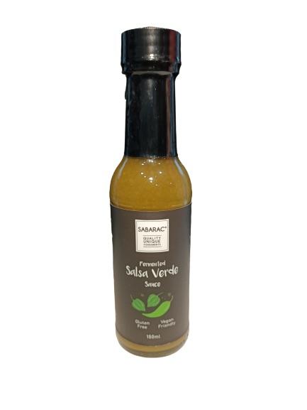 Sabarac, salsa verde, hot sauce